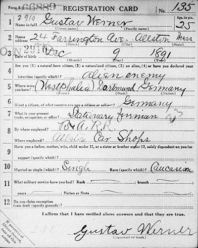 Gustav Werner draft registration card